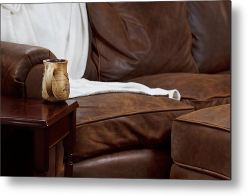 Brown Metal Print featuring the photograph Comfy Sofa by Jo Ann Snover