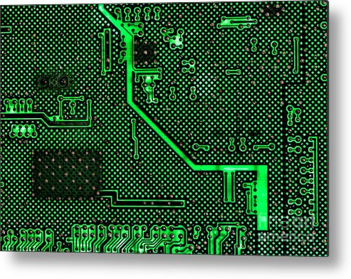Computer Metal Print featuring the photograph Computer Circuit Board by Olivier Le Queinec