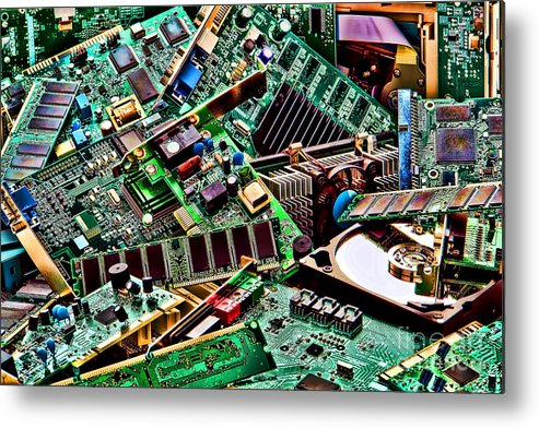 Computer Metal Print featuring the photograph Computer Parts by Olivier Le Queinec