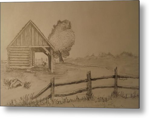 Metal Print featuring the drawing Corn Crib by Derek Sands