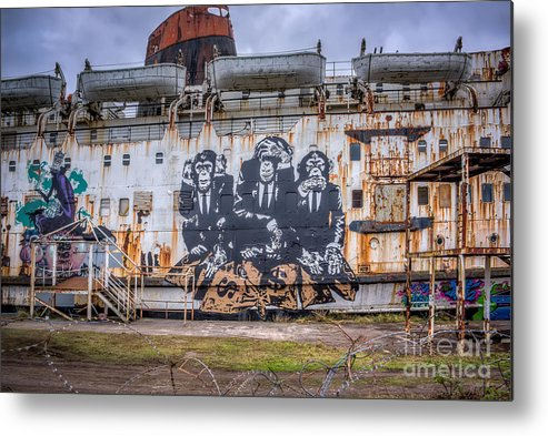 Abandoned Metal Print featuring the photograph Council Of Monkeys by Adrian Evans
