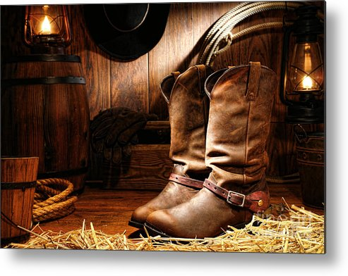 Western Metal Print featuring the photograph Cowboy Boots In A Ranch Barn by Olivier Le Queinec