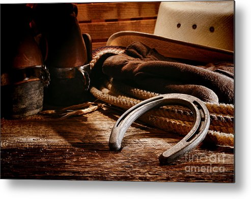 Western Metal Print featuring the photograph Cowboy Horseshoe by Olivier Le Queinec