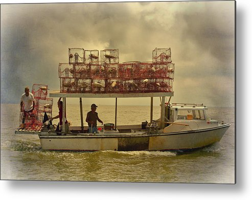 Crab Boat Metal Print featuring the photograph Crabbing by Sheryl Bergman