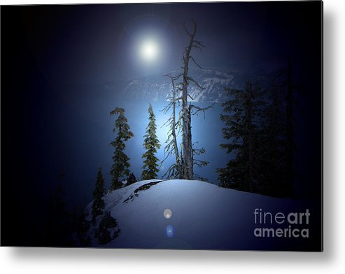 Metal Print featuring the photograph Crater Lake Midnight Oregon by Mike Nellums