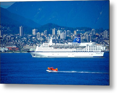 Vancouver Metal Print featuring the photograph Cruise Ship And Seaplane In Vancouver Harbor by Carl Purcell