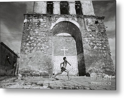 Cuba Metal Print featuring the photograph Cuba - Boy And Church by Maria Verdicchio