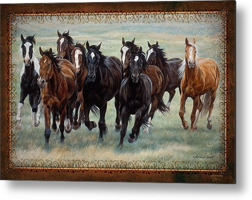 Michelle Grant Metal Print featuring the painting Deco Horses by JQ Licensing