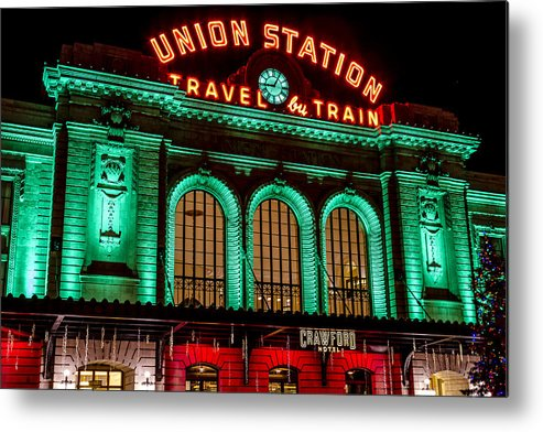 Christmas Metal Print featuring the photograph Denver's Union Station by Teri Virbickis