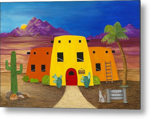 Whimsicle Desert Inn Has Vacancy Metal Print featuring the painting Desert Oasis by Carol Sabo