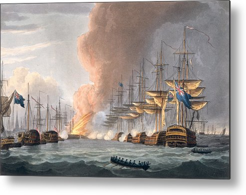 Ship Metal Print featuring the drawing Destruction Of The Danish Fleet by Thomas Whitcombe