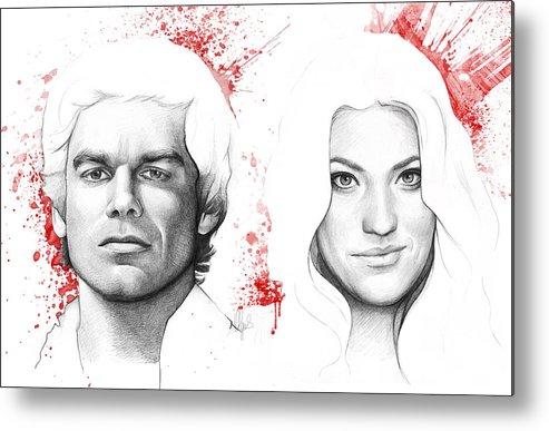 Dexter Metal Print featuring the drawing Dexter And Debra Morgan by Olga Shvartsur