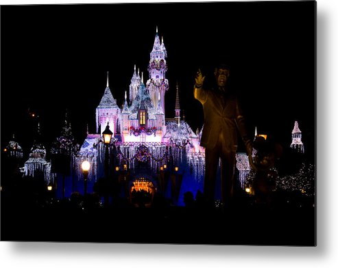 Disneyland Metal Print featuring the photograph Disneyland Christmas Castle by Anthony Duty