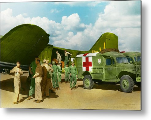 C-47 Metal Print featuring the photograph Doctor - Transferring The Wounded by Mike Savad