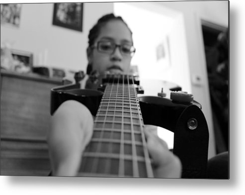 Guitar Metal Print featuring the photograph Down The Strings by Kyra Chambers