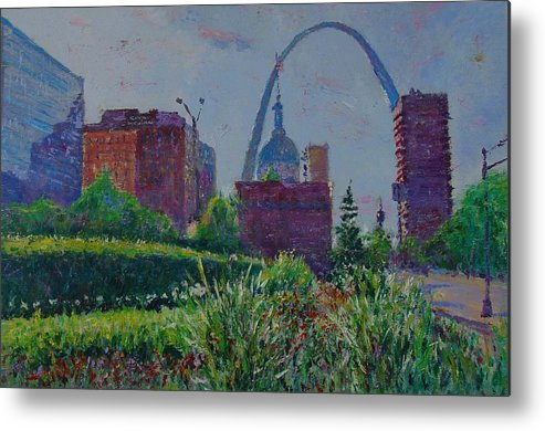 Cityscape Metal Print featuring the painting Downtown St. Louis Garden by Horacio Prada