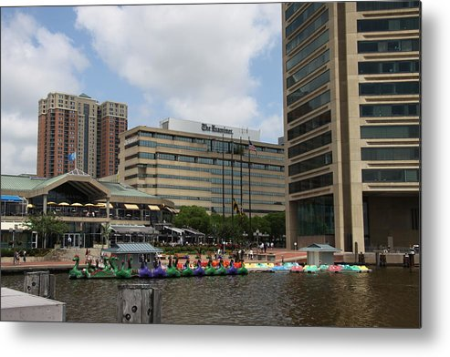 Boats Metal Print featuring the photograph Dragonboats - Inner Harbor Baltimore by Christiane Schulze Art And Photography