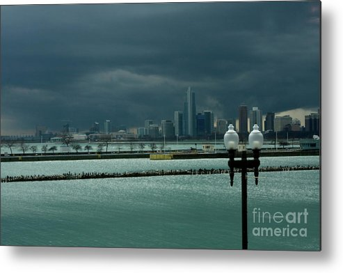 Navy Pier Metal Print featuring the photograph Dramatic Thunderstorm Over Navy Pier Chicago by Linda Matlow