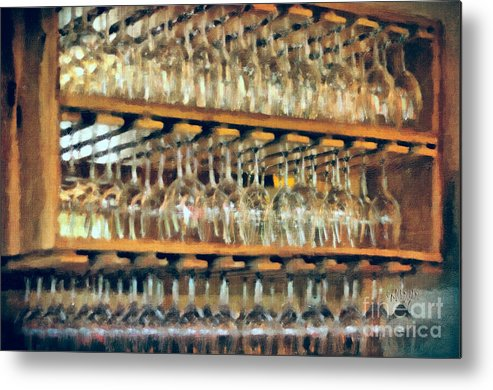 Wine Metal Print featuring the photograph Drinks On The House In Smoky Gold by Lois Bryan