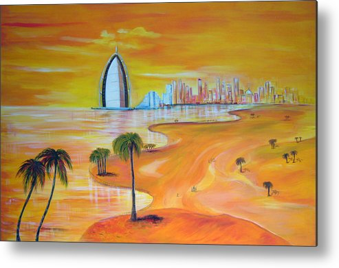 Oil Painting Abu Dhabi Metal Print featuring the painting Dubai by Inna Bredereck
