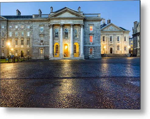 Dublin Metal Print featuring the photograph Dublin Trinity College Chapel At Night by Mark E Tisdale