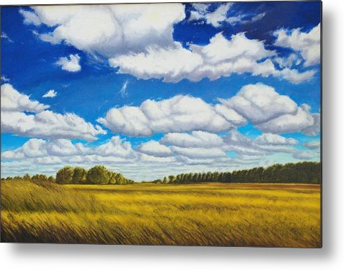 Wheat Metal Print featuring the painting Early Summer Clouds by Leonard Heid