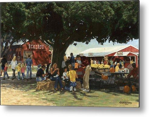 Don Langeneckert Metal Print featuring the painting Eckert's Market Under Big Tree by Don Langeneckert
