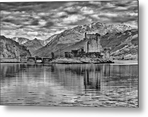 Scotland Metal Print featuring the photograph Eilean Donan - A Reflection Without Colour by Chris Boulton