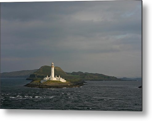 Architecture Beacon Beautiful Blue Channel Coast Coastal Coastline Danger Dangerous Eilean Europe Head Highlands Island Isle Landmark Landscape Light Lighthouse Mull Musdile Nature Oban Ocean Old Outdoors Protect Rocks Rugged Scene Scotland Sea Stretch Sunset Tourism Travel Water White Metal Print featuring the photograph Eilean Musdile Lighthouse by Fraser McCulloch