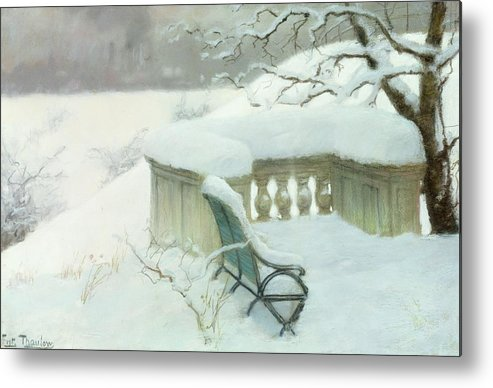 Winter Metal Print featuring the painting Elbpark In Hamburg by Fritz Thaulow