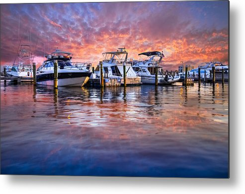 Boats Metal Print featuring the photograph Evening Harbor by Debra and Dave Vanderlaan