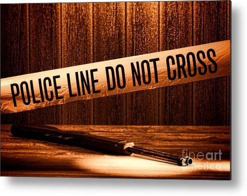 Police Line Metal Print featuring the photograph Evidence by Olivier Le Queinec