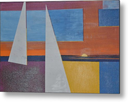 An Abstract Experiment (very Hard To Do) Metal Print featuring the painting Experiment/abstract by Burt Miller