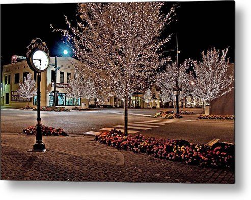 Fairhope Metal Print featuring the photograph Fairhope Ave With Clock Night Image by Michael Thomas