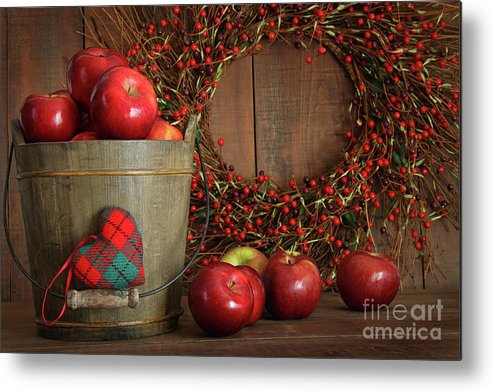 Agriculture Metal Print featuring the photograph Farm Fence In Rural Farm Setting by Sandra Cunningham