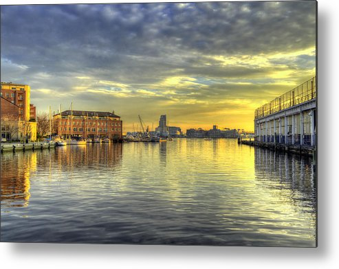 Baltimore Metal Print featuring the photograph Fells Point Harbor Sunset Baltimore Maryland  by George Edwards