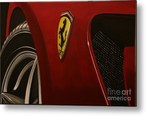 Ferrari Metal Print featuring the painting Ferrari 599 Gtb Fiorano by Richard John Holden RA