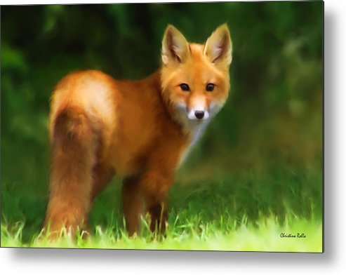 Red Fox Metal Print featuring the mixed media Fiery Fox by Christina Rollo