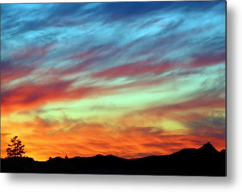 Colorful Metal Print featuring the photograph Fiery July Sunset by Jaime Weatherford