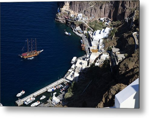 Horizontal Metal Print featuring the photograph Fira Harbor by Jim Wallace