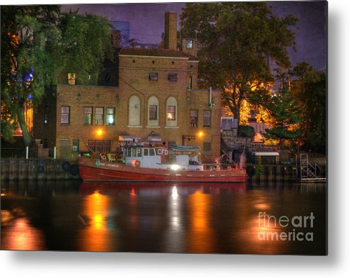 Architecture Metal Print featuring the photograph Fire Boat On Cuyahoga River by Juli Scalzi