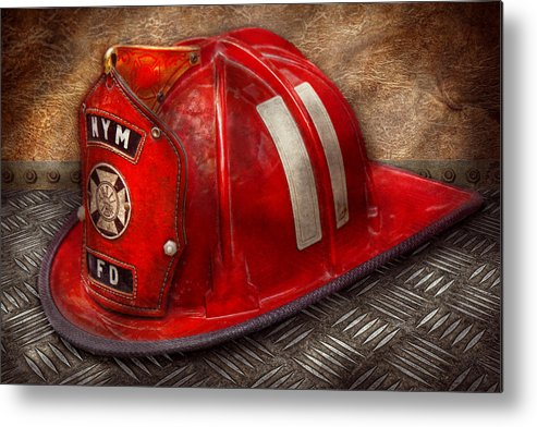 Fireman Metal Print featuring the photograph Fireman - Hat - A Childhood Dream by Mike Savad