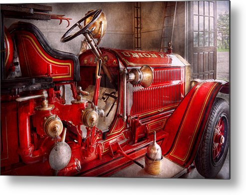 Fireman Metal Print featuring the photograph Fireman - Truck - Waiting For A Call by Mike Savad