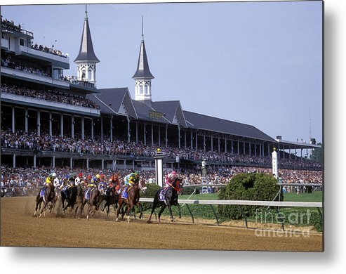 Thoroughbred Metal Print featuring the photograph First Saturday In May - Fs000544 by Daniel Dempster