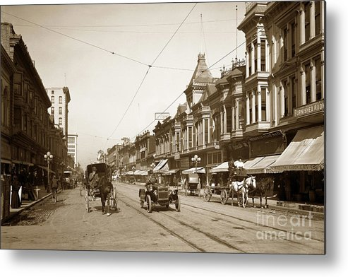 First Street Metal Print featuring the photograph First Street Downtown San Jose California Circa 1905 by California Views Archives Mr Pat Hathaway Archives