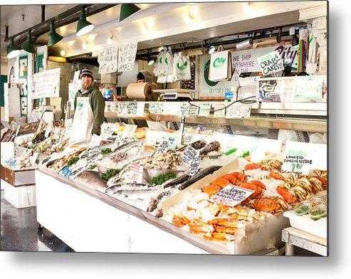 Seattle Metal Print featuring the photograph Fish Market by Paul Bartoszek