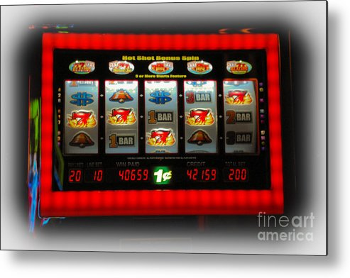 Flame Metal Print featuring the photograph Flaming Sevens Slots by Gary Keesler