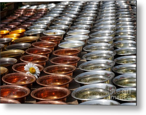 Nepal Metal Print featuring the photograph Flower And Candles by Colin Woods