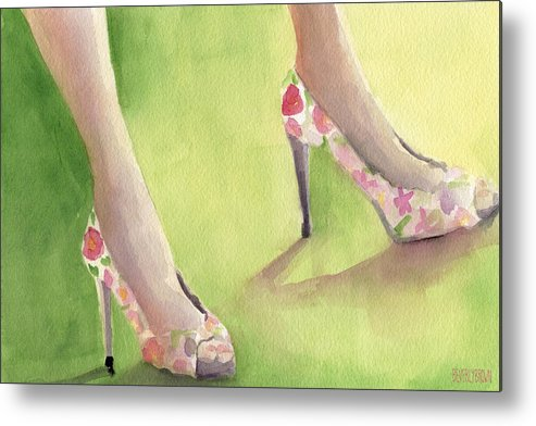 Fashion Metal Print featuring the painting Flowered Shoes Fashion Illustration Art Print by Beverly Brown Prints
