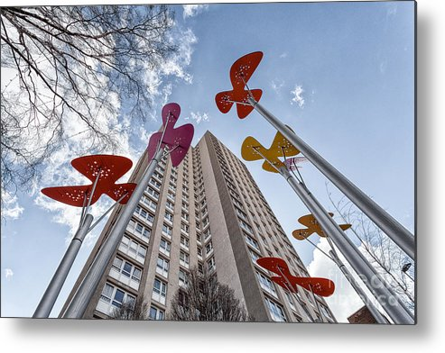 Glasgow Art Installation Metal Print featuring the photograph Flowers Glasgow by John Farnan